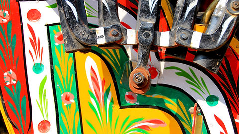 Close up of beautiful paint work on a rickshaw in Nepal