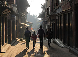Children walking down lane in Bhaktapur, Nepal