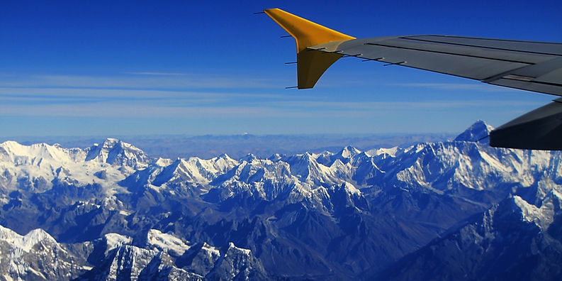Mount Everest from the air, himalayas, plane flying over himalayas