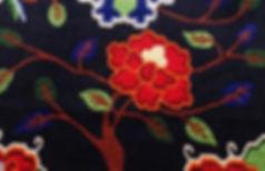 Beautiful Tibetan carpet, flower pattern