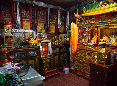 Temple room inside village home, Tibet