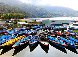 Boats on Fewa Lake, Pokhara, Nepal