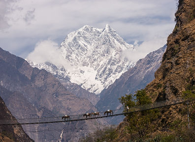 Suspension bridge near Tatopani, Annapurna, Nepal