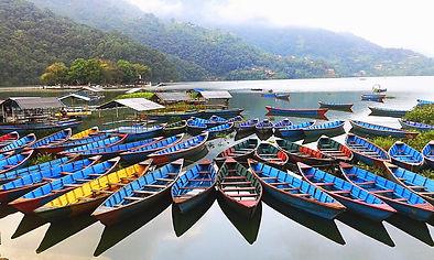 Boats on Fewa lake, Pokhara, Nepal