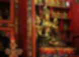 Statues inside Guru Lhakhang Monastery, Boudhanath Stupa, Kathmandu, Nepal