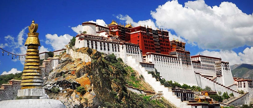 Potola Palace, from entrance gate to Lhasa, Tibet