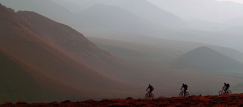 Mountain Bikes riding high in Uppe Mustang, Nepal