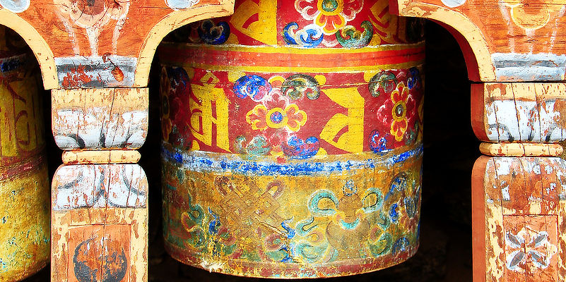 Beautifuly painted wooden prayer wheel, Tibet