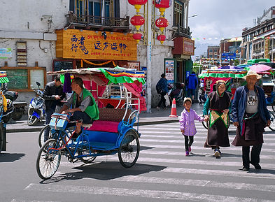 Crossing the road in Lhasa, Tibet