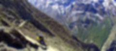 Mountain bike racing downhill in Mustang Nepal