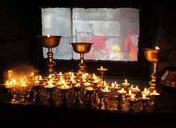 Candles inside Muktinath temple, Mustang, Nepal