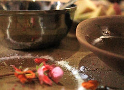 Mandala drawn out for a Mah Puja and traditiona Bhoj meal.  Bhaktapur, Nepal