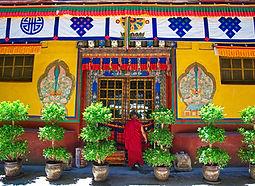 Monk at door, Samaye Monastery, Tibet