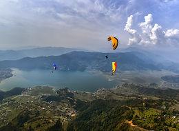 Paragliding over Fewa Lake, Pokhara, Nepal