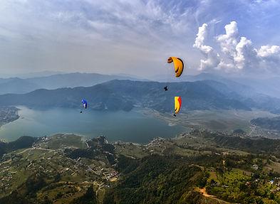Paraglidng over Phewa lake, Pokhara, Annapurna, Nepal