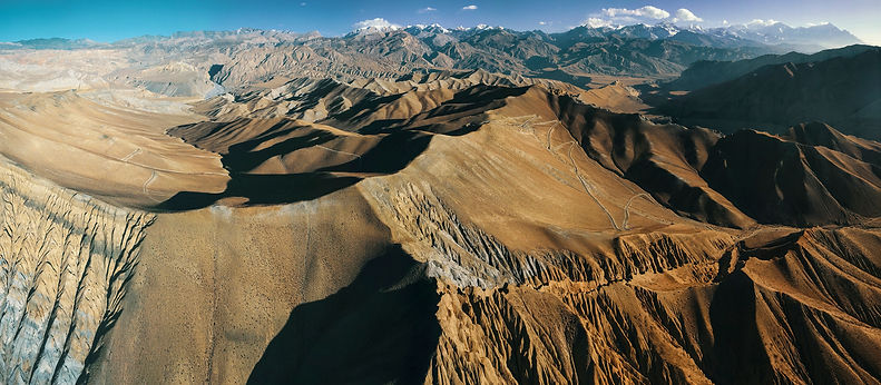 Aerial shot of mountaing in
