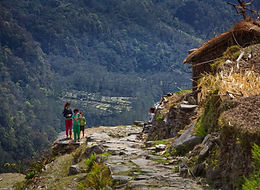 Children standing on mountain trail in Annapurna Region, Nepal