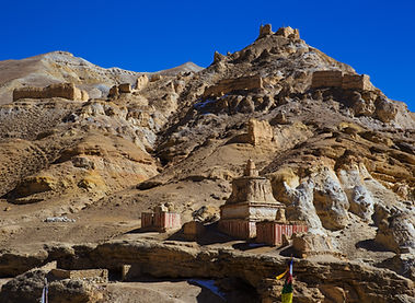 Ruins on hills, Upper Mustang, Nepal