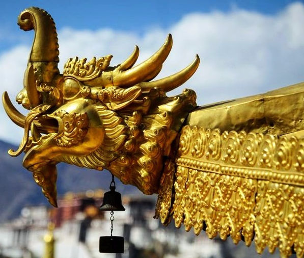 Jokhang Temple roof in Lhasa, Tibet