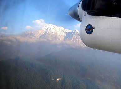 View of mountian on flight Pokhara to Jomsom
