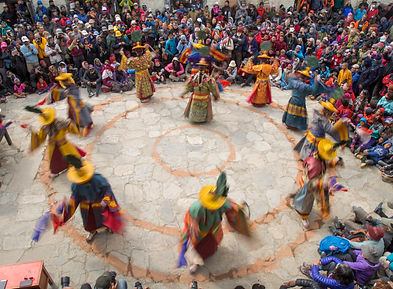 Lamas doing sacred dance at Tiji festival, Lo-Manthang, Upper Mustang, Nepal