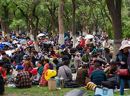 Picnic time to celebrate Shoton at the Norbulinka, summer palace of the Dalai Lama, Lhasa, Tibet