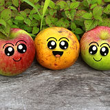 cute fruit character, two happy apples a