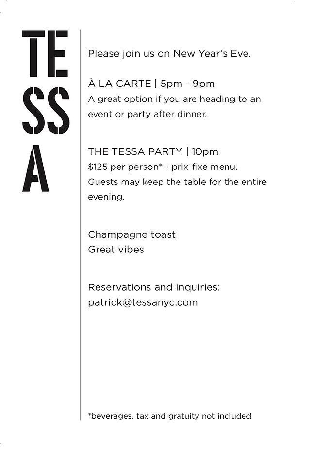 TESSA Restaurant NEW YEAR'S EVE PARTY 20