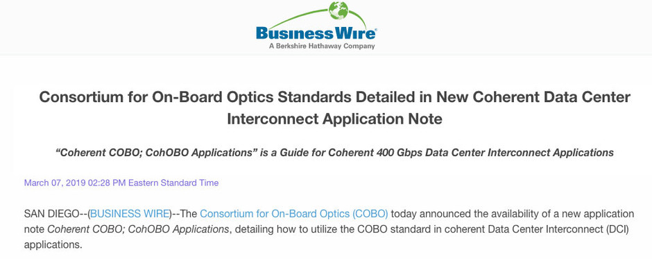 COBO Standards Detailed in New Coherent Data Center Interconnect Application Note