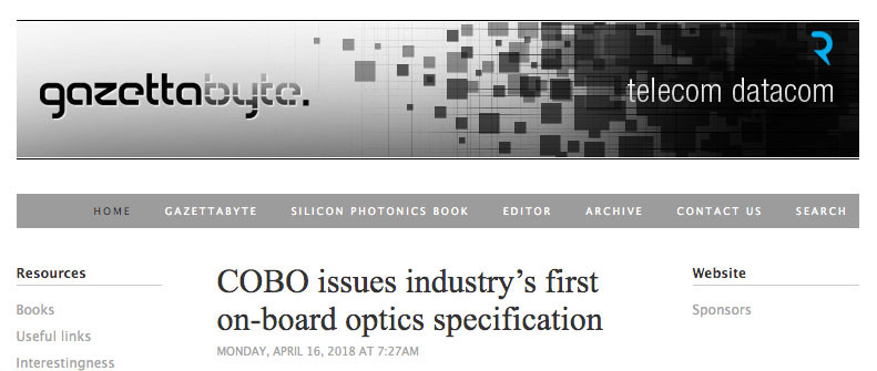 COBO issues industry's first on-board optics specification
