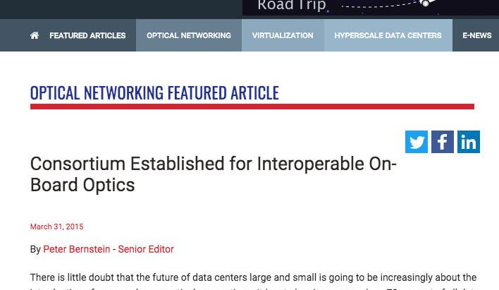 Consortium Established for Interoperable On-Board Optics