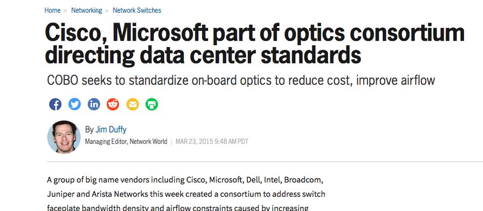 Cisco, Microsoft part of optics consortium directing data center standards