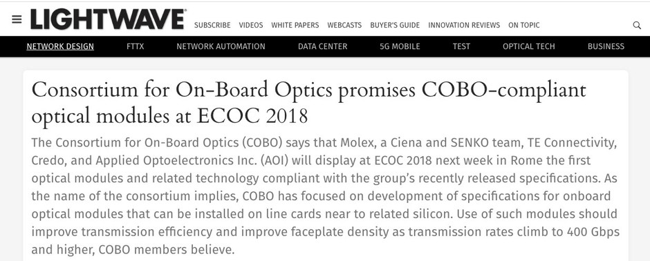 Consortium for On-Board Optics promises COBO-compliant optical modules at ECOC 2018