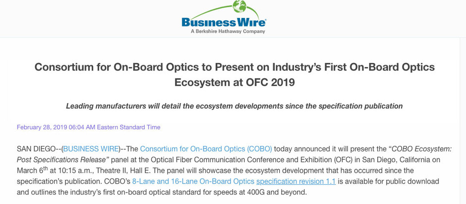 Consortium for On-Board Optics to Present on Industry's First On-Board Optics Ecosystem at OFC 2019