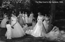 Queen and court in the Gardens, 1955