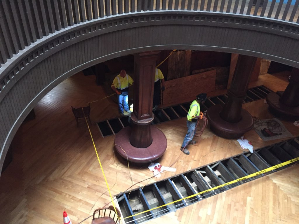 The process involves creating temporary access openings in the Rotunda, and Dining Hall floors
