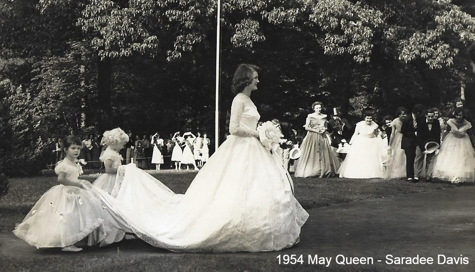 1954 May Queen Saradee Lewis and her attendants