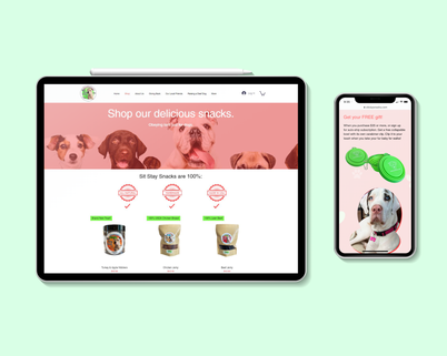 """We partnered with Sit Stay Snacks, e-commerce store for dog treats, to re-design their existing e-commerce website. We re-designed and their updated website in less than 1 week turnaround time, including both desktop and mobile versions, with stellar results.  """"I recently reached out via Thumbtack for a company to manage my social media marketing and to help with my website. I received several responses but ended Up hiring a 'local-to-me' company. After I paid them and supplied all my info, I never heard from them again! So I went Back to my Thumbtack responses. I had received many, but Chris's response from BrandName Marketing was the only one that stood out because it was personally addressed to me and signed by him and did not sound like an auto-response like the other very generic sounding messages. I reached out and heard from Chris right away! He was so proactive from the beginning, creating and posting and driving so much business to my site that I decided to also have him redo my website in order to capture additional sales from all that traffic more effectively. Having him on board is going to make the difference between me having a side-hustle and having a full-time income producing business. Can't recommend Chris and BrandName Marketing highly enough."""" - Heidi S., Owner/Operator, 5 Star Review.  Check out the live website below:"""
