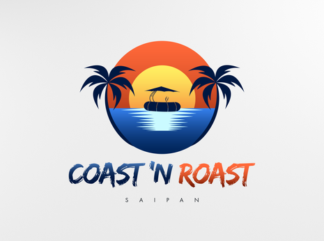 """Coast 'N Roast Saipan custom logo.  """"We couldn't be happier with the logo that Chris designed for our boating company! We started with a phone interview where we did some brainstorming and he made the whole process so comfortable and easy! After just a few revisions, he was able to capture the exact feel we wanted. He always responds quickly and professionally. He has been great to work with and we have been so happy with the logo that we will be having him design our website as well. I would highly recommend him to anyone!"""" - Sarah G., Owner/Operator, 5 Star Review"""