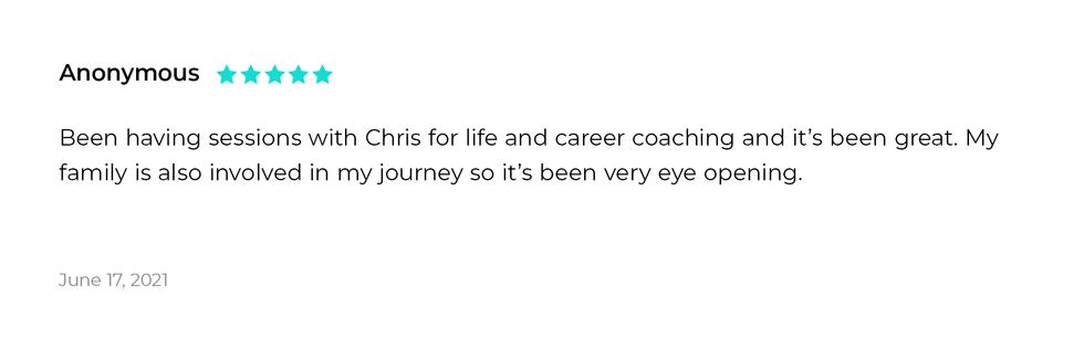 Life and Career Coaching testimonial.