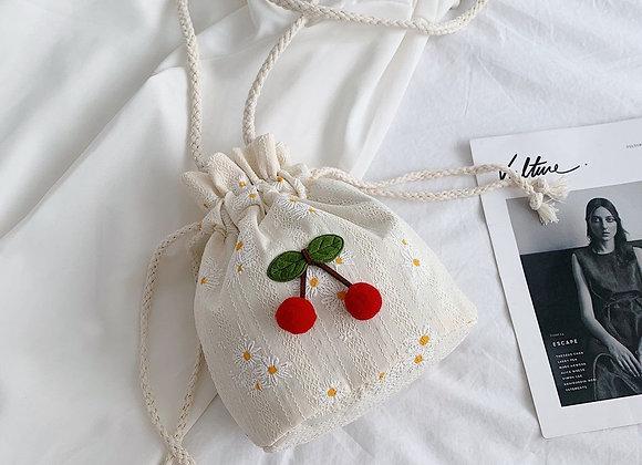 Girl Flower Bucket Bag Foreign Style Versatile Casual  Shoulder Messenger Bag