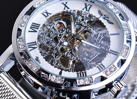 Winner Men Mechanical Watch Silver Crystal Mesh Steel Strap Automatic
