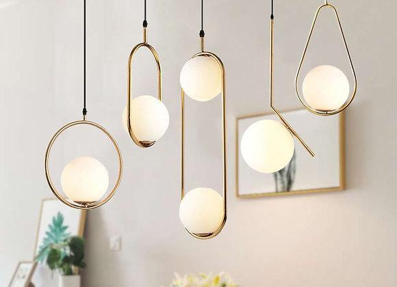 Nordic Glass Ball Pendant Lights Vintage Hoop Gold Modern LED Hanging Lamp for L