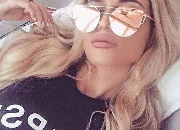 Cat Eye Vintage Brand Designer Rose Gold Mirror Sunglasses for Women