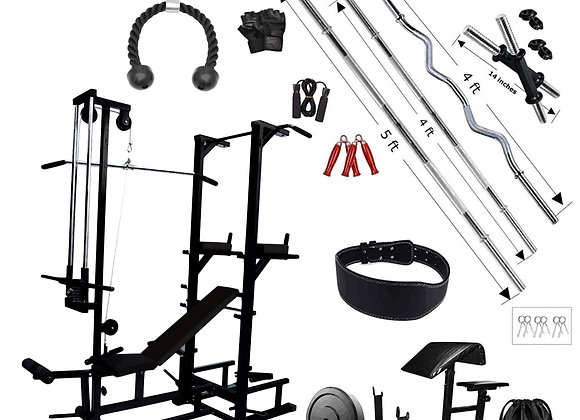 Abs tower gym bench with 60kg rubber equipments for home with Preacher Bench