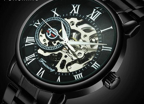 FORSINING New Fashion Casual Skeleton Auto Mechanical Watch Men Ultra