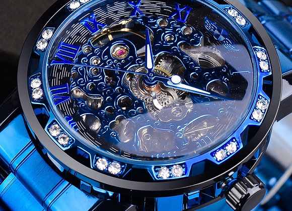 Winner Transparent Diamond Mechanical Watch Blue