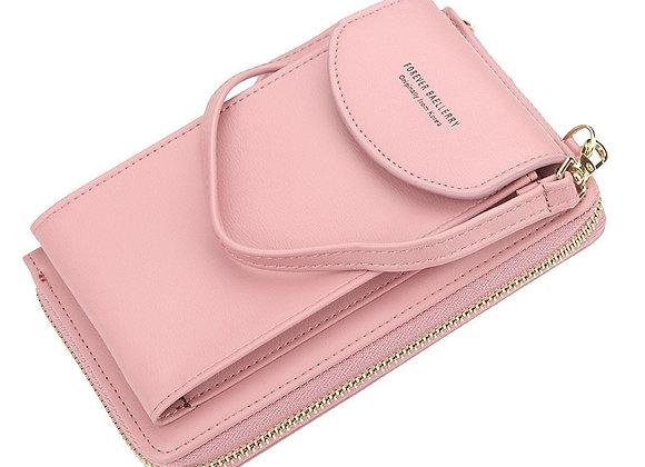 New Women Purses Solid Color Leather Shoulder Strap Bag Mobile Phone Bag Big