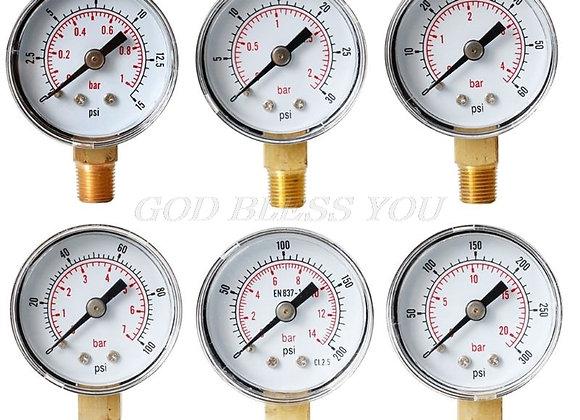 "40mm Face Pressure Gauge 1/8"" BSPT Bottom Mount 15,30,60.100,160 200, 300 PSI"