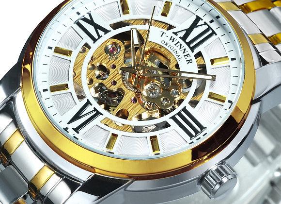 WINNER Gold Skeleton Mechanical Watch Men